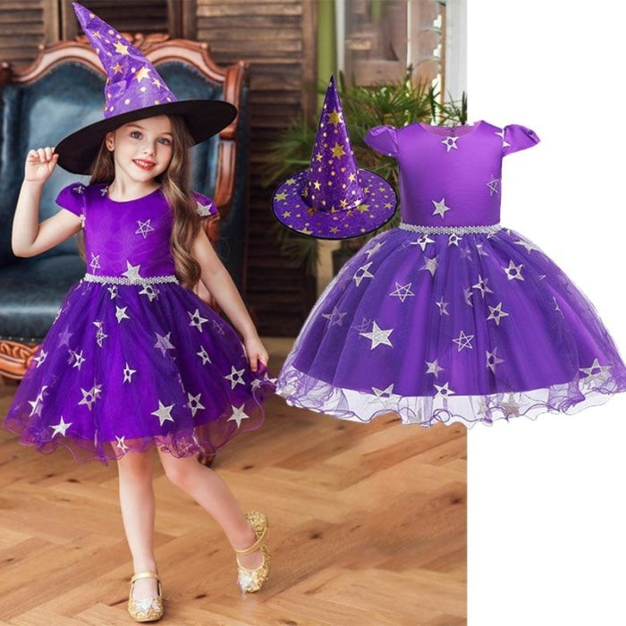Purple Halloween Witch Dress With Hat (2PCS) For Girls