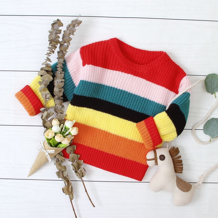 Rainbow Color Casual Sweater for Kids Unisex