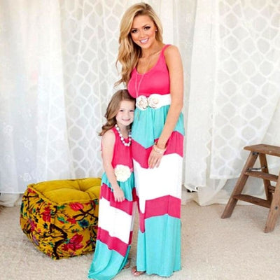 Ravishing Striped Matching Dress for Mother and Daughter - Color 5 / Daughter 10T