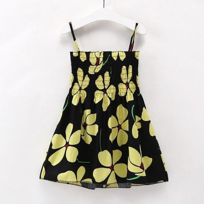 Ready for Summer Floral Print Cotton Dresses For Girls - Black Floral / 18-24 months