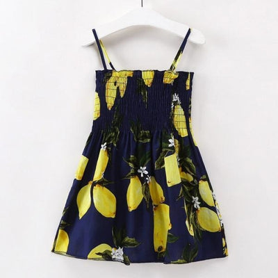 Ready for Summer Floral Print Cotton Dresses For Girls - Black + Yellow / 18-24 months