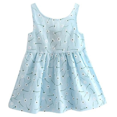 Ready for Summer Floral Print Cotton Dresses For Girls - Blue / 18-24 months