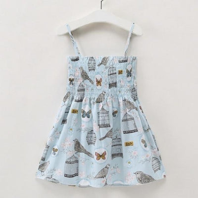 Ready for Summer Floral Print Cotton Dresses For Girls - Blue Birds / 18-24 months