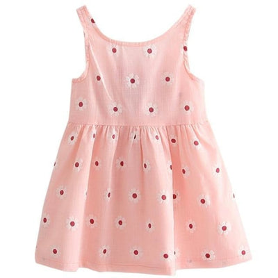 Ready for Summer Floral Print Cotton Dresses For Girls - Pink / 18-24 months