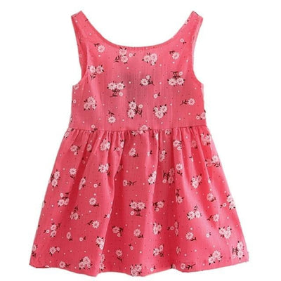 Ready for Summer Floral Print Cotton Dresses For Girls - Rose Red / 18-24 months