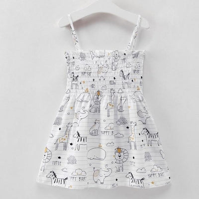 Ready for Summer Floral Print Cotton Dresses For Girls - White / 18-24 months