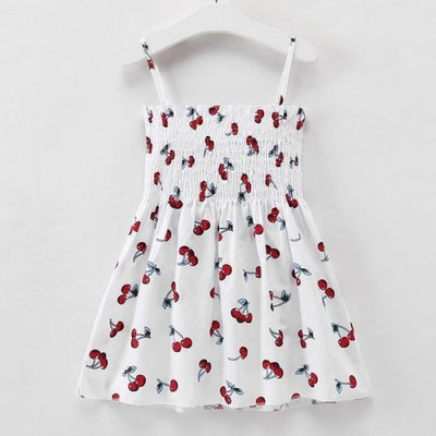 Ready for Summer Floral Print Cotton Dresses For Girls - White Cherry / 18-24 months