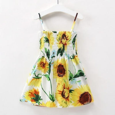Ready for Summer Floral Print Cotton Dresses For Girls - Yellow Floral / 18-24 months