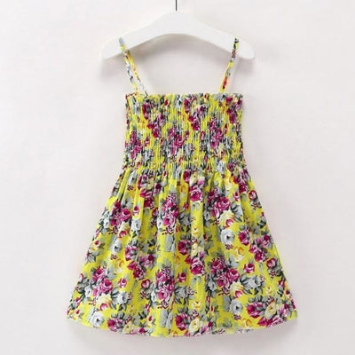Ready for Summer Floral Print Cotton Dresses For Girls - Yellow Floral 2 / 18-24 months