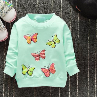 Regular Cartoon theme Sweatshirt for Girls - Green butterfly / 4-6 months