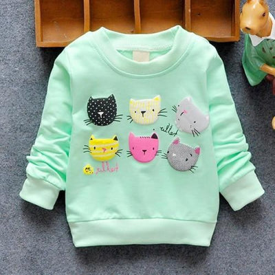 Regular Cartoon theme Sweatshirt for Girls - Green cats / 4-6 months