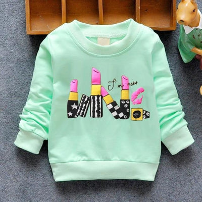 Regular Cartoon theme Sweatshirt for Girls - Green lipstick / 4-6 months