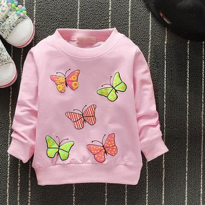 Regular Cartoon theme Sweatshirt for Girls - Pink butterfly / 4-6 months