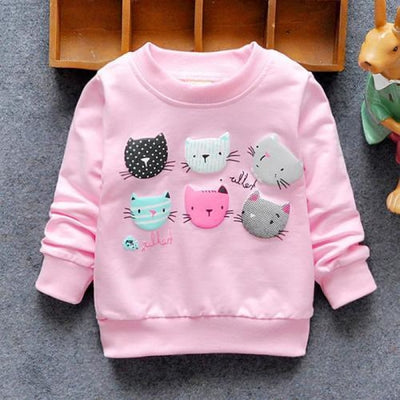 Regular Cartoon theme Sweatshirt for Girls - Pink cats / 4-6 months