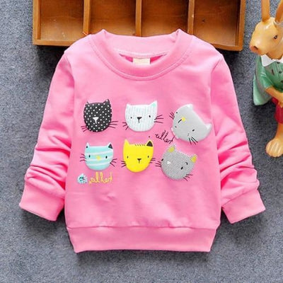 Regular Cartoon theme Sweatshirt for Girls - Red cats / 4-6 months