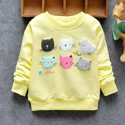 Regular Cartoon theme Sweatshirt for Girls - Yellow cats / 4-6 months