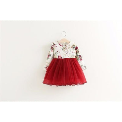 Regular Pretty Floral dress for Girls - red / 4-5 years