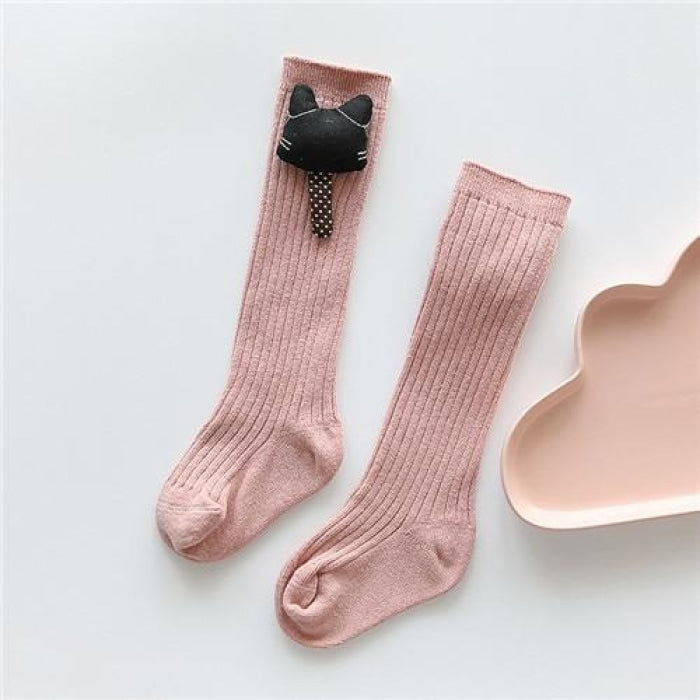 Ribbed Knee-high Socks for Girls - Pink / 0-1 year
