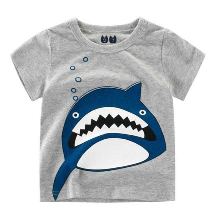 Shark Teeth Print Cotton Summer T-Shirt - Gray / 18-24 months