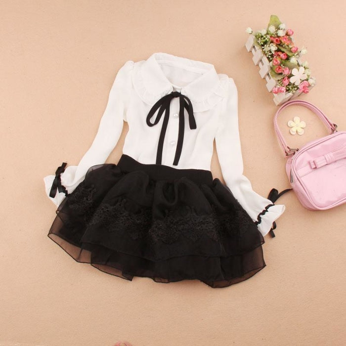Shiffon Blouse and Tutu Skirt Set for Girls