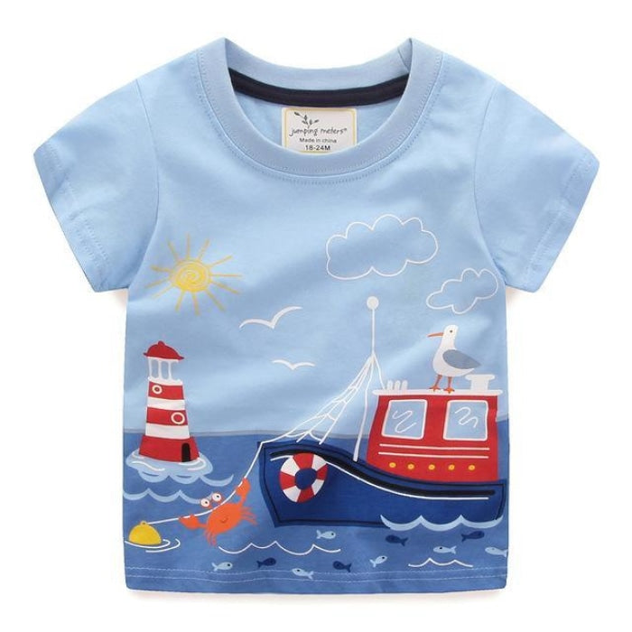 Ship Sea Cartoon T-Shirt Kids Unisex - Blue / 2-3 years