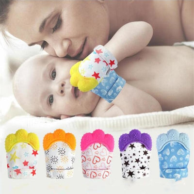 Silicone Mitten Teether with Cute Print Pattern for 3-18 months Babies