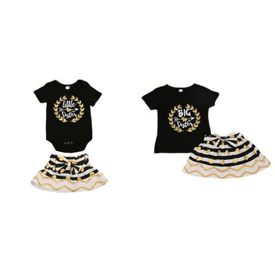 Sisters Matching Cloth Set for Baby Girl - Black / Big Sister 6-7 years