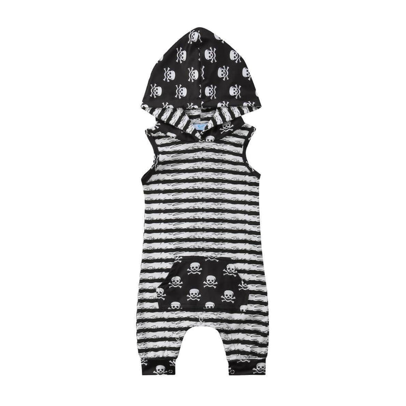 Skulls Printed Stripes Hooded Jumpsuit - 3-6 months