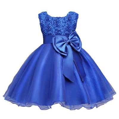 Sleeveless Floral Design Ball Gown - blue / 2-3 years