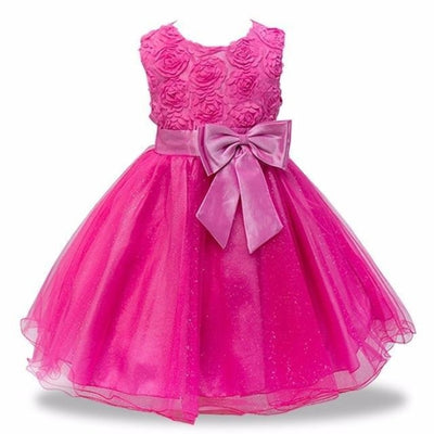 Sleeveless Floral Design Ball Gown - mei red / 2-3 years