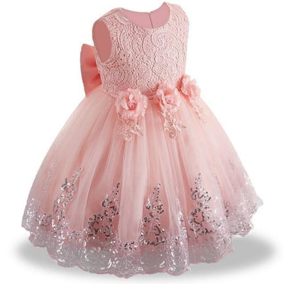 Sleeveless Floral Design Ball Gown - orange / 2-3 years