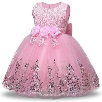 Sleeveless Floral Design Ball Gown - Pink / 2-3 years