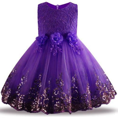 Sleeveless Floral Design Ball Gown - purple 1 / 2-3 years