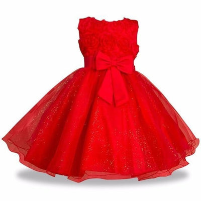 Sleeveless Floral Design Ball Gown - red / 2-3 years