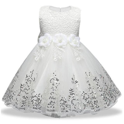 Sleeveless Floral Design Ball Gown - white / 2-3 years