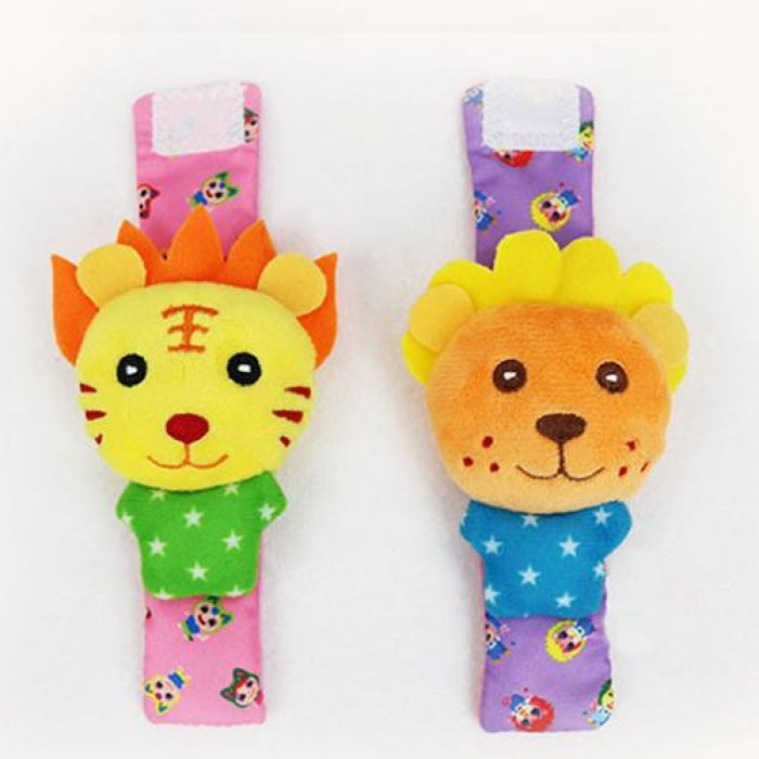 Soft Plush Cartoon Zebra Socks & Wrist Strap Rattle Set for 0-24 Months Baby