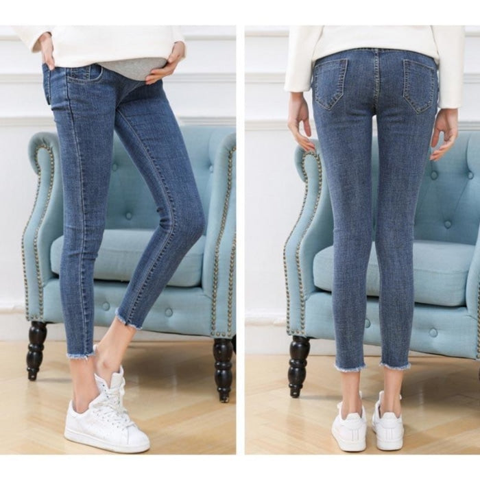 Soft Skinny Elastic Maternity Jeans Pants for Spring & Summer