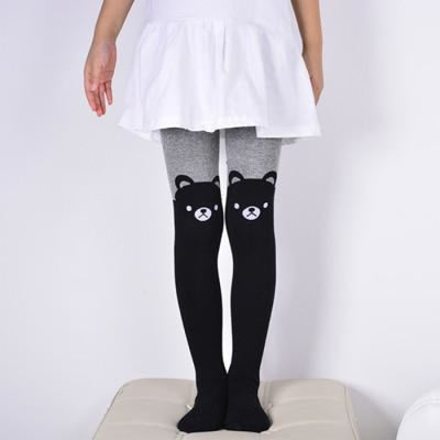 Solid Cartoon Character Design Pantyhose Tights - Black 4 / 1-3 years