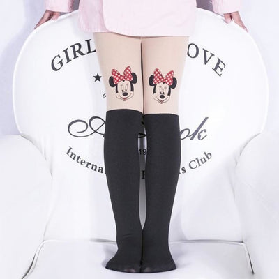 Solid Cartoon Character Design Pantyhose Tights - Black 7 / 1-3 years
