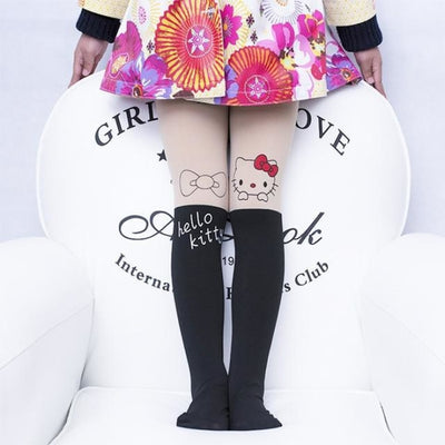 Solid Cartoon Character Design Pantyhose Tights - Black 8 / 1-3 years