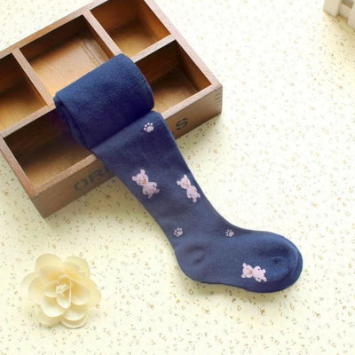 Solid Cartoon Character Design Pantyhose Tights - Navy Blue / 1-3 years