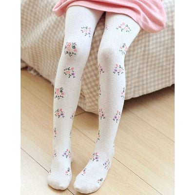 Solid Cartoon Character Design Pantyhose Tights - White 5 / 1-3 years