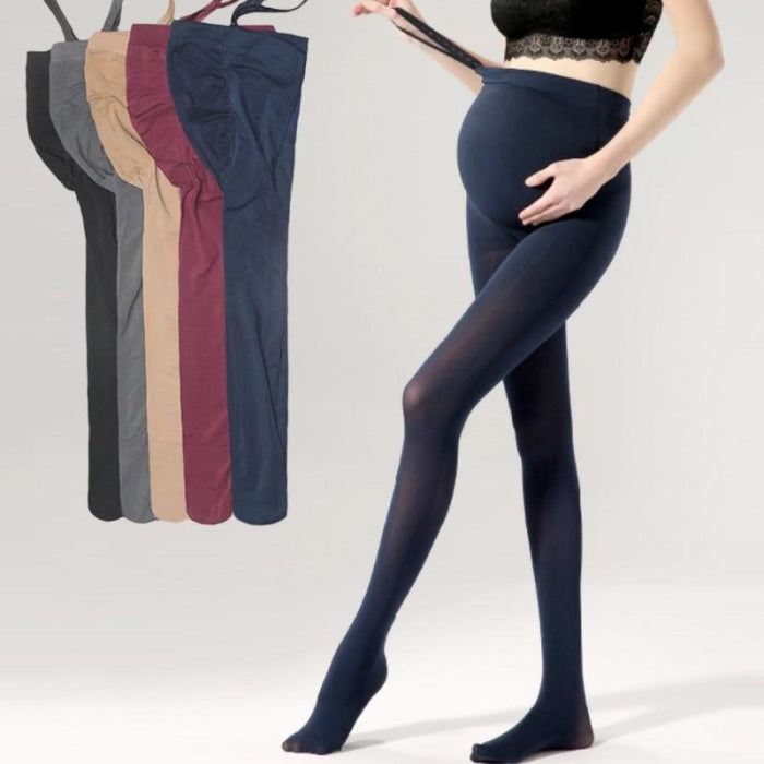 Solid Color Pregnancy Leggings with Adjustable Elastic for Winter
