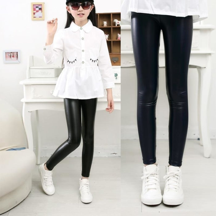 Solid Color PU Leather Leggings Pants for Girls