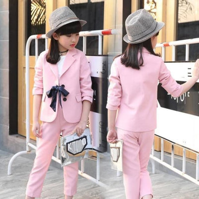 Spring Fashionista Blazer Coat Pant Set for Girls - pink clothing set / 3-4 years