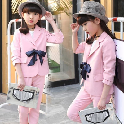 Spring Fashionista Blazer Coat Pant Set for Girls