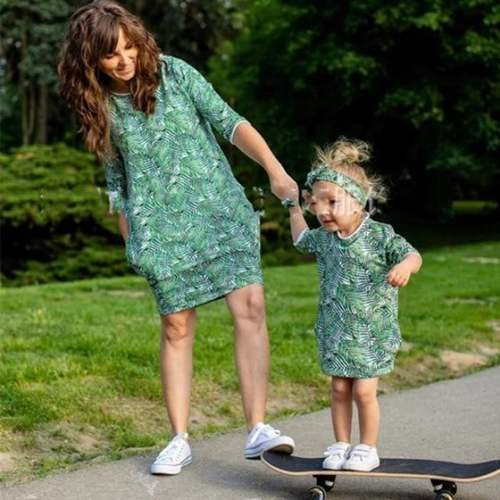 Spring Floral Dress for Mother and Baby