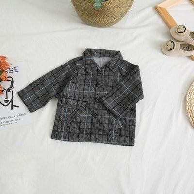 Spring Plaid Jacket Set for Girls - Deep Gray / 18-24 months