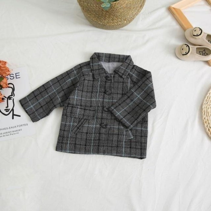 Spring Plaid Jacket Set for Girls