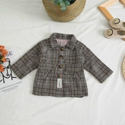 Spring Plaid Jacket Set for Girls - Pink / 18-24 months